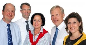 Das Leitungsteam der GBR KARDIOLOGIE KÖLN, v.l.n.r. Dr. med Hubertus Günther, Dr. med. Ansgar Peters, Dr. med. Adelgunde Kux, PD Dr. med. Thomas Eggeling und Dr. med. Carmen Felder